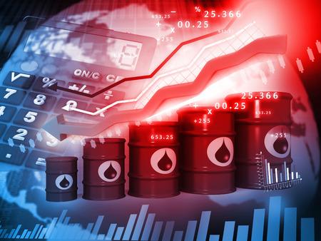 Olievaten met dalende olieprijs grafiek