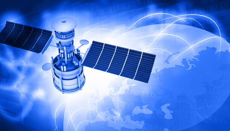 Satellites flying around earth with digital signals photo