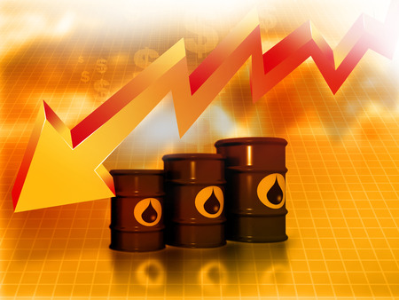 stock price losses: Oil Barrels with  falling oil price graph