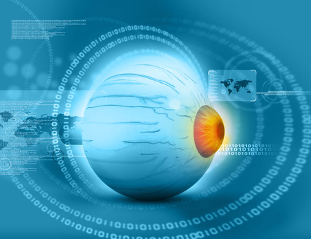 3d render of Human eye on tech background Stock Photo