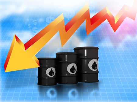 crude oil: Oil Barrels with  falling oil price graph