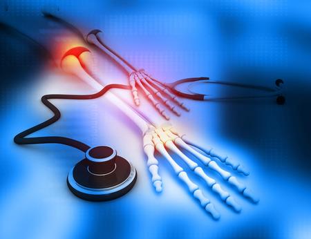 Human arm bones with stethoscope on blue background