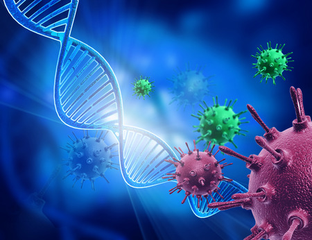 Virus attack on DNA Stock Photo