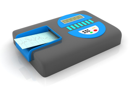 heart ecg trace: ECG with electrocardiograph machine
