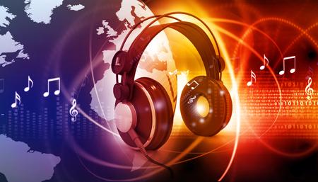 Digital world with headphones, world music concept