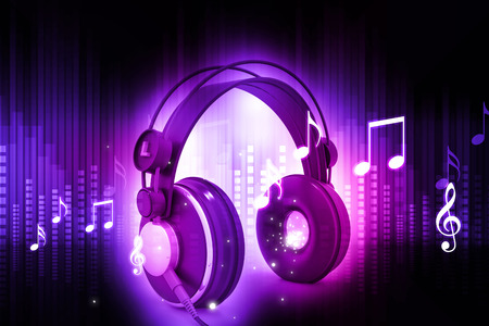 computer generated image: Digital world with headphones, world music concept