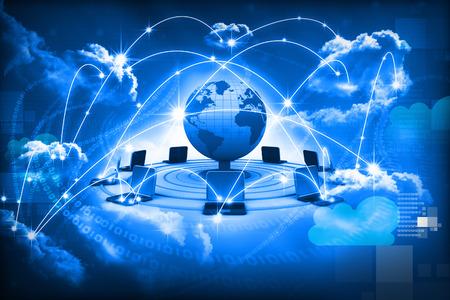 ordinateur de bureau: Concept de cloud computing, r�seau informatique mondial Banque d'images