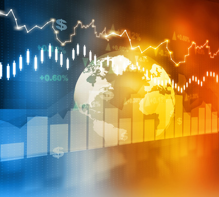 global investing: Financial background , stock market chart Stock Photo
