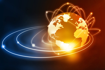 Global networking on beautiful abstract background