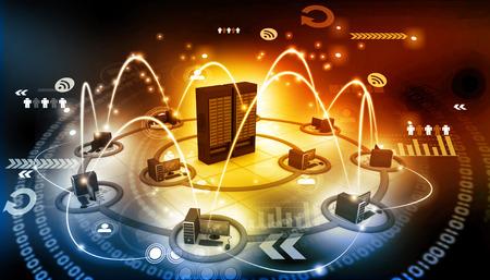 red informatica: La red de ordenadores con el servidor Foto de archivo