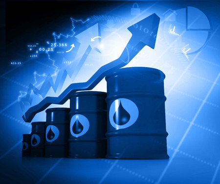 natural gas prices: Increasing oil price , high price of oil, growing arrow graph Stock Photo