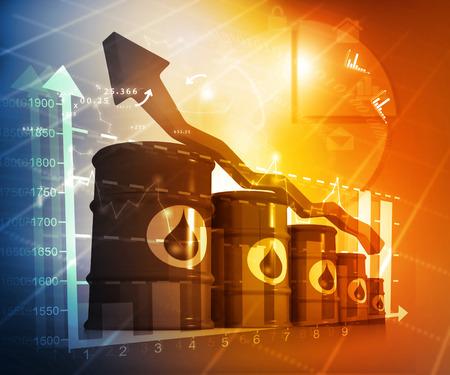 oil barrel: El aumento del precio del petr�leo, alto precio del petr�leo, la creciente gr�fico de flecha Foto de archivo