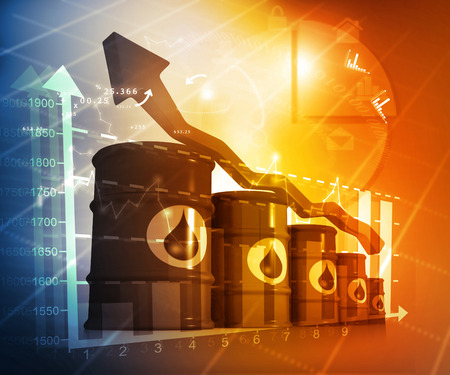 Increasing oil price , high price of oil, growing arrow graph Stock Photo
