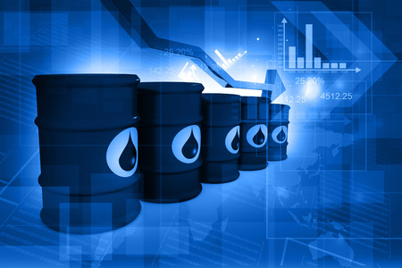 oil and gas industry: Oil Barrels with falling oil price graph Stock Photo