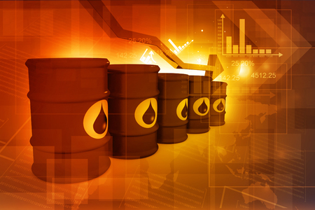 ethanol: Oil Barrels with falling oil price graph Stock Photo