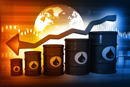 Oil Barrels with falling oil price graph photo