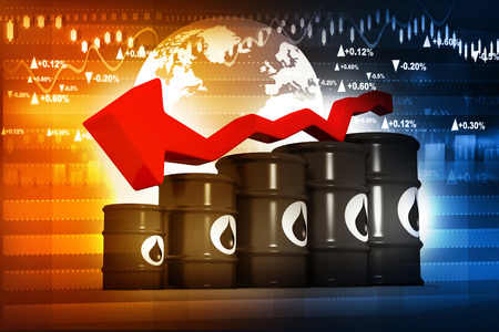 crude oil: Oil Barrels with falling oil price graph Stock Photo
