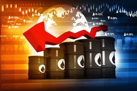 Oil Barrels with falling oil price graph Reklamní fotografie