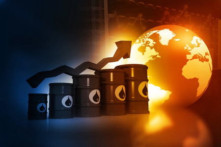high price of oil: Increasing oil price , high price of oil, growing arrow graph Stock Photo