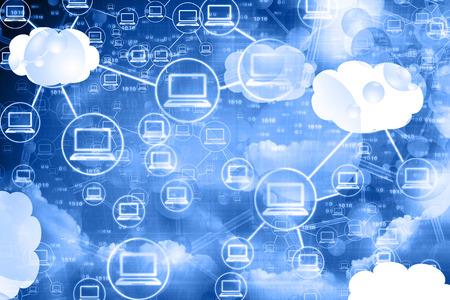 クラウド コンピューティング ネットワーク、抽象的な背景