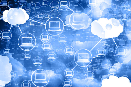 computer cloud: Cloud computing network , abstract background Stock Photo