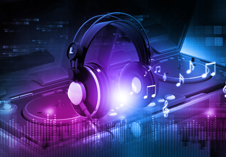 audio mixer: Dj mixer with headphones, Dj party background
