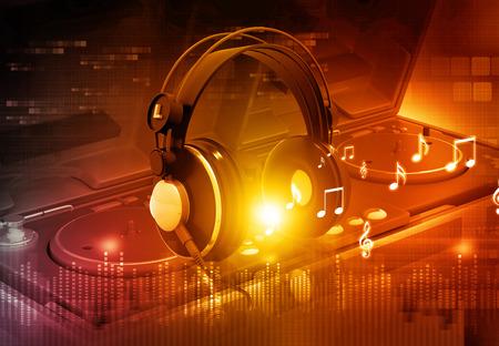 auriculares dj: Mezclador de DJ con los auriculares, fondo de fiesta de Dj