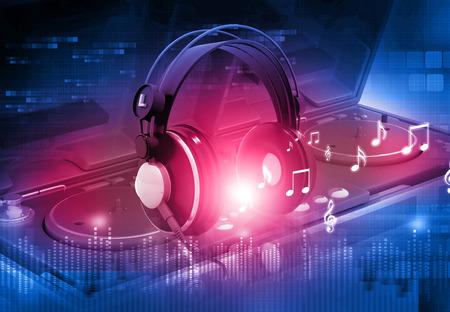 Dj mixer with headphones, Dj party background