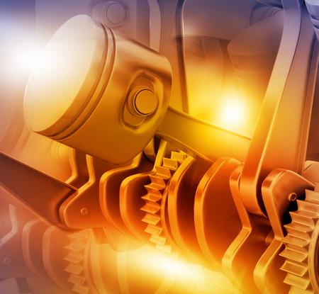 3D 엔진 피스톤과 톱니 바퀴 배경
