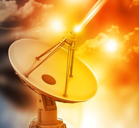 data transmission: Satellite dish transmission data, abstract tech background