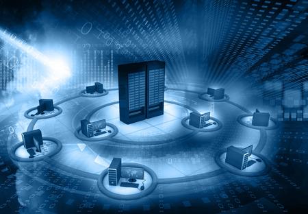 red informatica: La red de ordenadores e internet concepto de comunicaci�n Foto de archivo