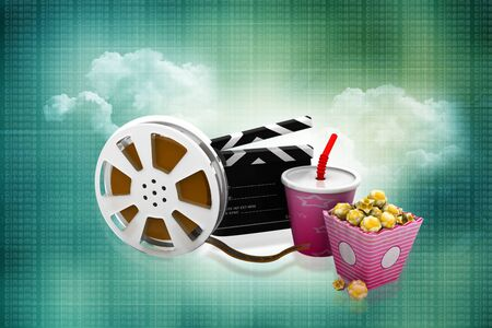 film slate: 3d illustration of film slate, movie reel, popcorn and cup of cola