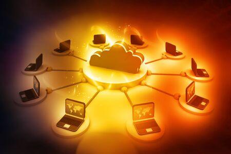 synchronizing: Cloud computing concept Stock Photo