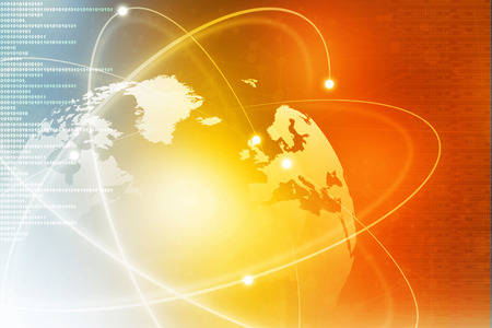 yellow earth: Futuristic background of Global business network, internet, Globalization concept