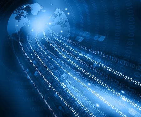 Global Communication  , digital world and binary cods photo