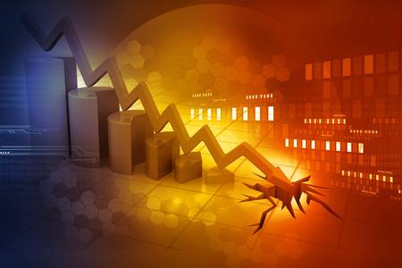 bolsa de valores: Gráfico que muestra el declive del negocio Foto de archivo