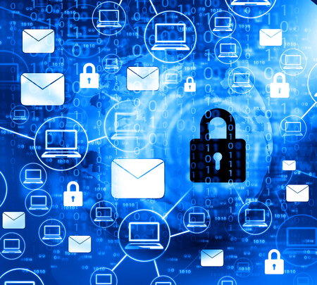 Internet Security concept, computer network with pad lock Stock Photo