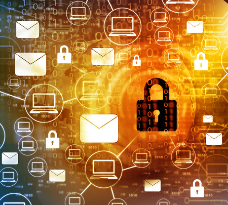 Internet Security concept, computer network with pad lock Stockfoto