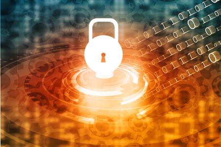 Internet Security concept, computer network with pad lock Archivio Fotografico