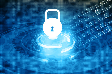 Internet Security concept, computer network with pad lock Foto de archivo