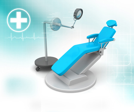 stomatological: 3d render of Blue Dental Chair on blue medical background Stock Photo