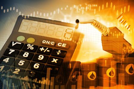 Oil price graph, oil pump nozzle and stock market  chart Stockfoto