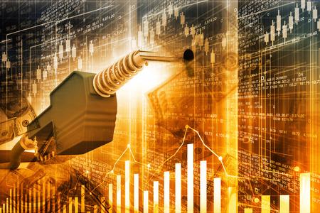 barril de petróleo: Gráfico del precio del petróleo, boquilla de la bomba de aceite y carta de la bolsa