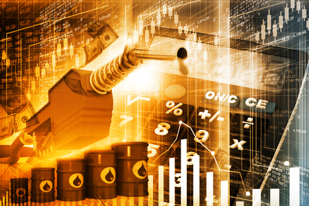 Oil price graph, oil pump nozzle and stock market  chart Standard-Bild