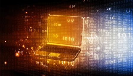 codigo binario: port�til con c�digo binario en fondo de alta tecnolog�a