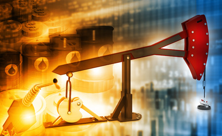 crude: oil price graph and Oil rig pump jack background Stock Photo