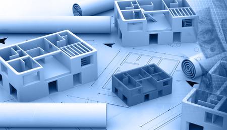 Blauwdruk van een architecturaal project Stockfoto - 40899826