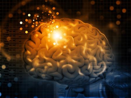 cerebro humano: 3d rinden de las funciones del cerebro, sinapsis Foto de archivo