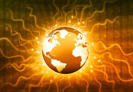 fiber optics: Globalization of fiber optics , Hi-tech technological background Stock Photo