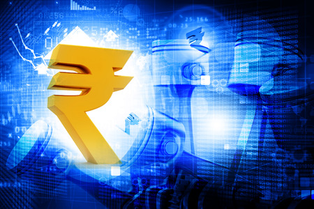 rupee: Indian rupee with Financial chart and graphs Stock Photo